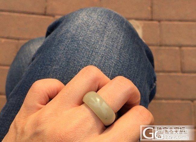 刚刚收到的青白戒指 悲催了 戴不进去..._和田玉